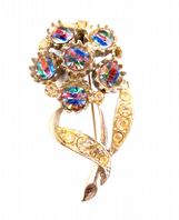 Vintage Iris Rainbow Glass Rhinestone Flower Brooch